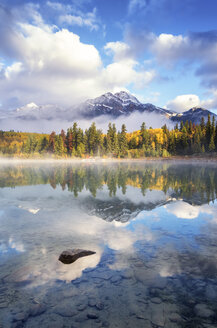 Canada, Jasper National Park, Jasper, Pyramid Mountain, Patricia Lake in the morning - SMAF000560