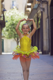 Smiling girl posing in colourful ballet dress - XCF000098