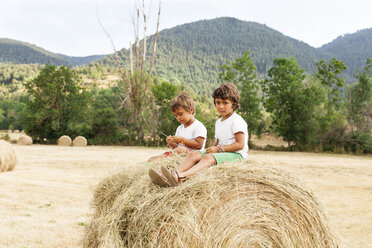 Two little boys sitting on bale of straw - VABF000756