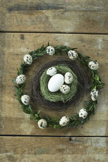 Easter wreath and Easter nest with goose egg and quail eggs - ASF005994