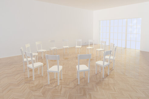 Circle of chairs, 3d Rendering - CMF000552