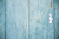 Greek, Cyclades, blue wooden door with a white seahorse - GEMF000986