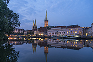 Germany, Luebeck, old town and river Trave at dusk - PC000264