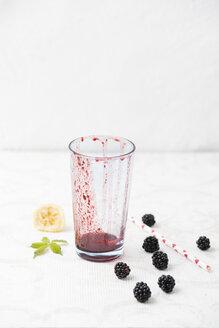 Blackberry lemon smoothie, empty glass - MYF001753