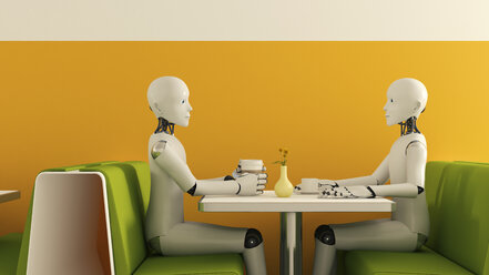 Robots in cafe, 3D Rendering - AHUF000228
