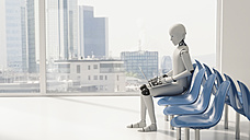 Robot sitting in waiting area, using laptop - AHUF000231