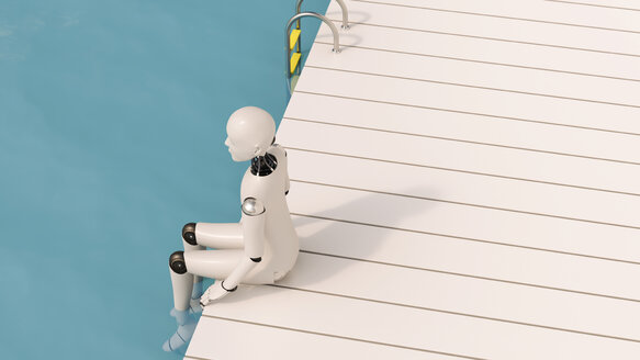 Robot sitting on pier, 3D Rendering - AHUF000234