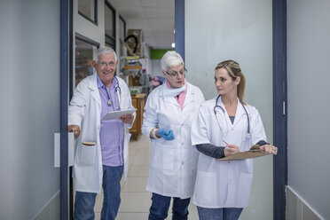 Three veterinarians on the corridor - ZEF009826