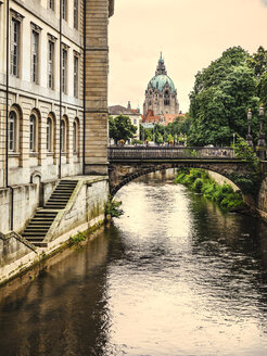Germany, Lower Saxony, Hannover, New town hall and canal, Leine river - KRPF001781