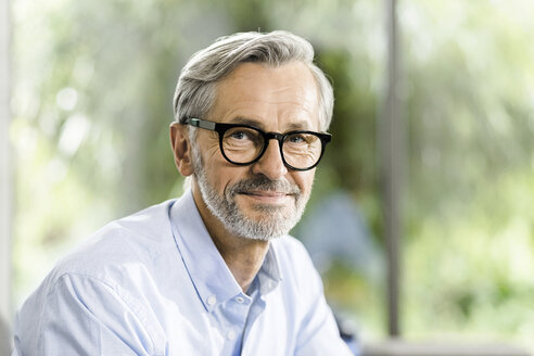 Portrait of smiling man with grey hair and beard wearing spectacles - SBOF000238