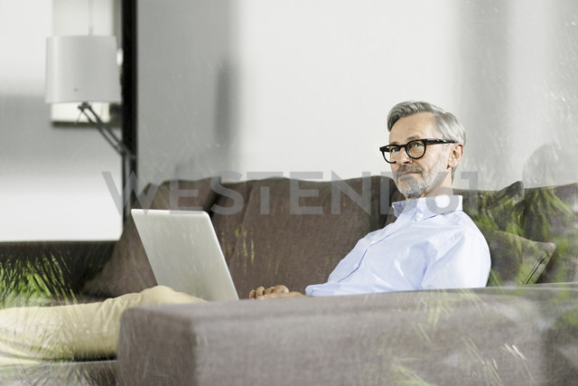 Man sitting on couch in his living room with laptop - SBOF000241 - Steve Brookland/Westend61