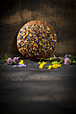 Flower bread on dark wood - MAEF011980