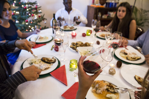 Friends having Christmas dinner with red wine - ABZF001070