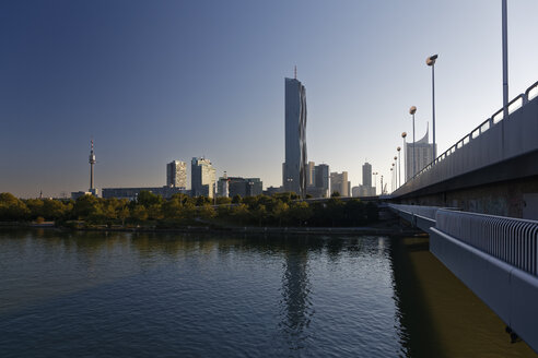 Austria, Vienna, view to Donau City  with DC Tower at twilight - GFF000765