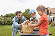 Father and children building up a birdhouse together - RBF005118