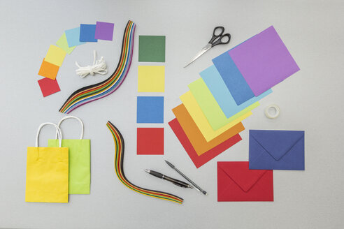 Tools and colourful paper for craft projects - MELF000144