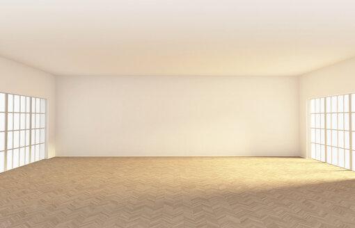 Empty room with parquet, 3d rendering - CMF000556