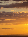 Germany, Leipzig, wind park at sunset - KRPF001812