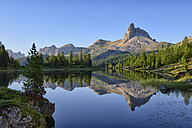 taly, Dolomites, Belluno, mountain Becco di Mezzodi reflecting in Federa Lake - RUEF001741