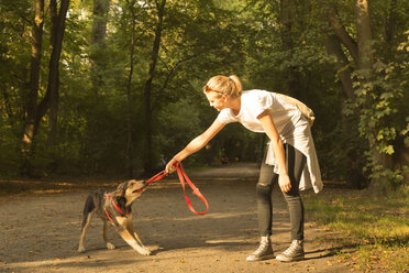 Young woman playing with her dog on a forest track - FCF001068
