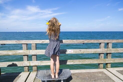 Back view of girl looking to the sea through telescope - SARF02869