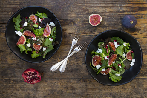 Mixed salad with goat cheese, pomegranate seeds and figs - LVF05319