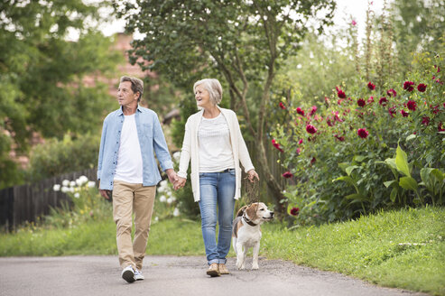 Senior couple on a walk with dog in nature - HAPF00860