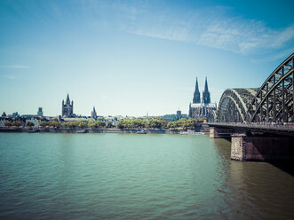 Germany, Cologne, city view with Hohenzollern Bridge - KRPF01824