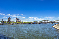 Germany, Cologne, view to the city with Rhine River in the foreground - KRPF01827