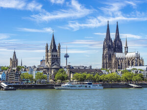 Germany, Cologne, view to the city with Rhine River in the foreground - KRPF01830