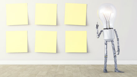 Light bulb manikin standing by row of yellow sticky notes - AHUF00246