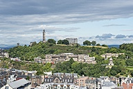 United Kingdom, Scotland, Edinburgh, Calton Hill, Nelson Monument left, National Monument right - ELF01807