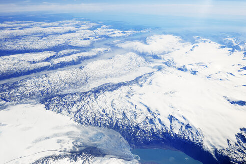 Greenland, view out of plane window on glaciers, fjords, sea and mountains - BRF01357