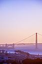 USA, California, San Francisco, Golden Gate Bridge in evening light - BRF01390