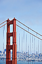 USA, California, San Francisco, pillar of the Golden Gate Bridge as seen from Golden Gate View Point - BRF01405