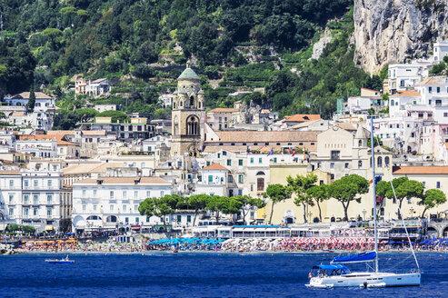 Italy, Campania, Province of Salerno, Amalfi coast, Amalfi, yacht - THAF01776