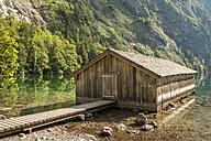 Germany, Bavaria, boat house at lake Obersee - STSF01085