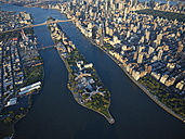 USA, New York City, Aerial photograph of Roosevelt Island in the East River - BCDF00044