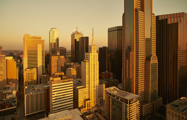 USA, Texas, Aerial photograph of the Dallas skyline at sunrise - BCDF00065