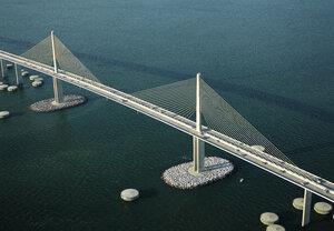USA, Florida, Aerial photograph of the Sunshine Skyway Bridge over Tampa Bay - BCDF00074