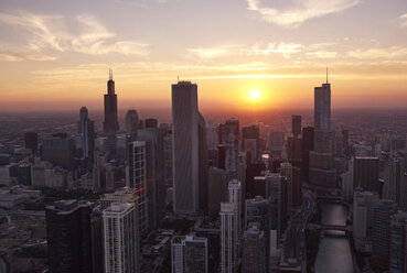 USA, Illinois, Aerial photograph of downtown Chicago in the early evening - BCDF00077