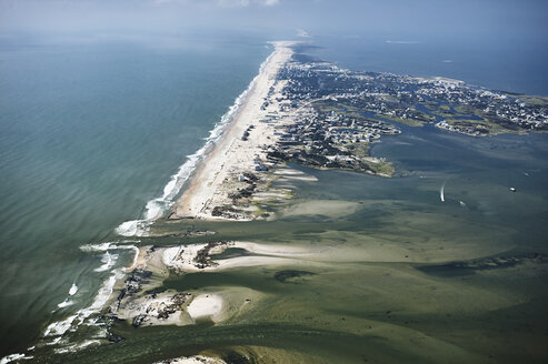 USA, Aerial view of Hurricane Isabel damage to Hatteras Island in the Outer Banks of North Carolina - BCDF00095