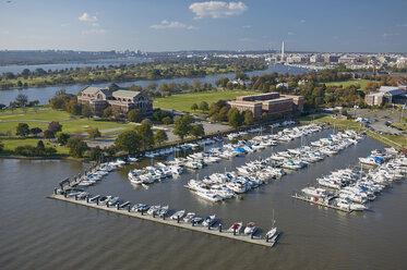 USA, Washington, D.C., Aerial photograph of Fort McNair marina on the Anacostia River - BCDF00101
