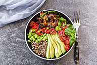Fried chicken, quinoa, tomato, avocado, spring onion, rosemary and basil in bowl - SARF02924