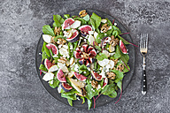 Platter of baby chard salad with pear, figs, walnuts and feta - SARF02943