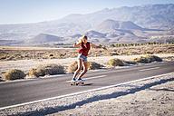 Spain, Tenerife, blond young skater skateboarding - SIPF00897