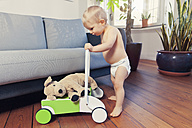 Little boy pushing around his cuddly toy in walker wagon - MFF03368