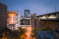 USA, New York City, Manhattan Bridge at night - STCF00245