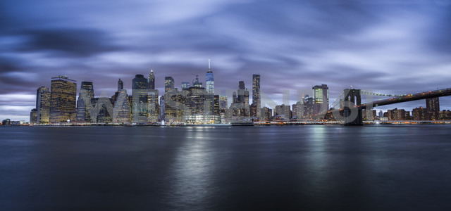 USA, New York City, skyline at night, long exposure - STCF00263