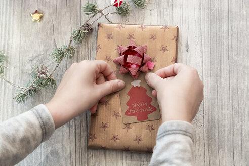 Hands of girl wrapping Christmas present - SARF02955